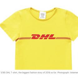 pict © : Vetements' £185 DHL T-shirt, the biggest fashion story of 2016 so far. Photograph: Vetements